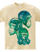 Three fool monkey (tropical blue)