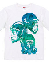 Three fool monkey (tropical blue)