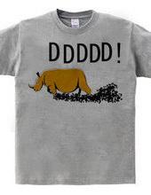 サイのデザインTシャツ「どどどどど」