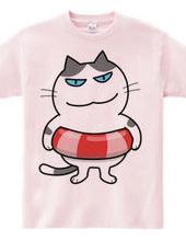猫の海水浴