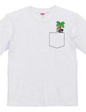 ヤシの木登る猿