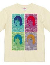 ポップアート風 ガールTシャツ