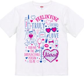 MAKE UP 手描きイラストTシャツ