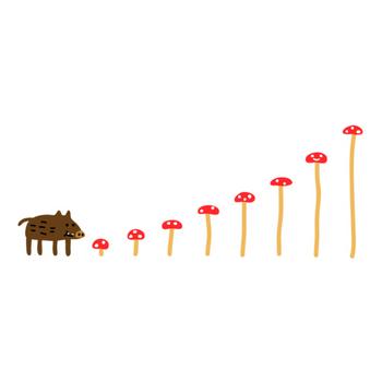 キノコを食べるイノシシ