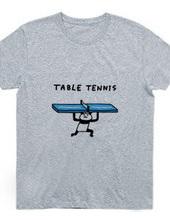 卓球 卓球台を支えるパンダ