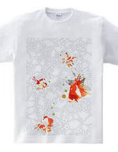 花柄を泳ぐ金魚