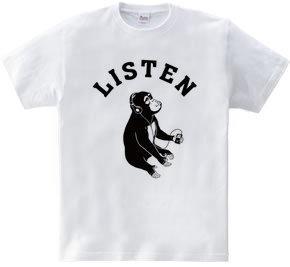Listen ミュージックモンキー 猿 動物イラストアーチロゴ