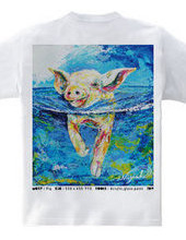 ブタ Tシャツ_Rainbow Wave 2019 Summer