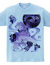 和柄 青の金魚姫 キモノガール 3 藤紫