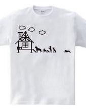 ボストンテリア一家のボステリさんTシャツ