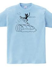 ボストンテリア サーフィン エアリアル Tシャツ