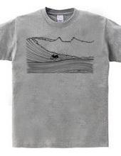 ボストンテリア サーフィン ボトムターン Tシャツ