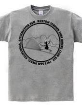 ボストンテリア サーフ スタイルマスター Tシャツ(モノクロ)