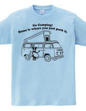 ボストンテリア サーフキャンプ VWキャンパー Tシャツ