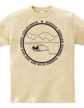 ボストンテリア サーフィン バレル イン Tシャツ(モノクロ)