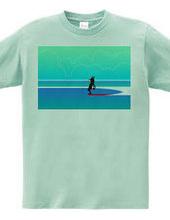 ボストンテリア サーフィン ノーズライダーサーフクラブ Tシャツ