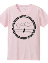 ボストンテリア ノーズライダーサーフクラブTシャツ(モノクロ)