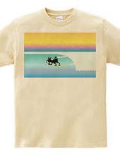 ボストンテリア サーフ バレル イン Tシャツ