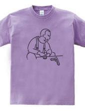 拳銃とおじさん イラスト