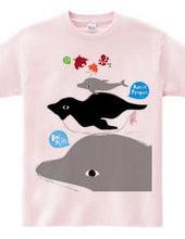 アデリーペンギンとタコプルポと電池式イルカのサーカス