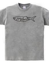 魚Tシャツ_モノクロ