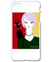紫の髪の女と黒猫