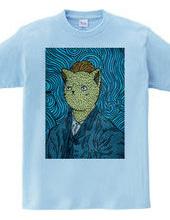 Van Gogh Neko Parody Painting
