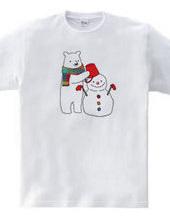 シロクマと雪だるま