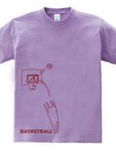 バスケットボール ゴールの上にカメ