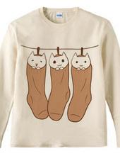 靴下に入って干される白猫ちゃん兄弟3匹(単色)