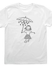 傘の下の雨の下の子